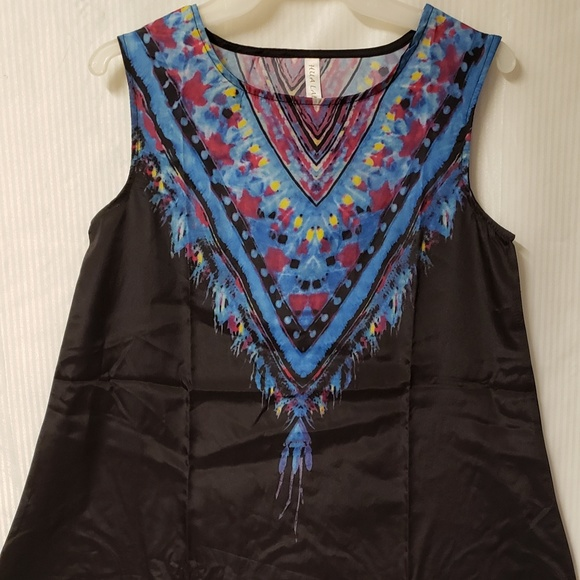 Unbranded Tops - Black Ethnic Tribal Feathers Tank Top NWOT